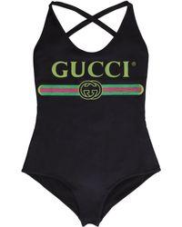 Gucci Logo Print One-piece Swimsuit - Black