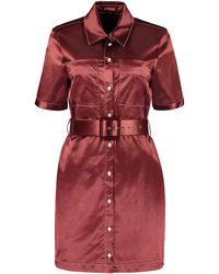 STAUD Bentley Satin Shirtdress - Red