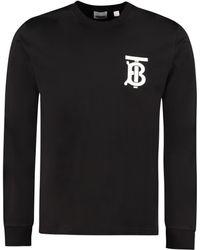 Burberry Long Sleeve Cotton T-shirt - Black