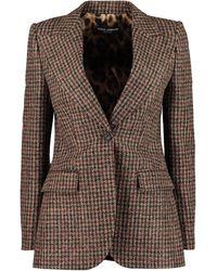 Dolce & Gabbana Blazer monopetto in misto lana - Marrone