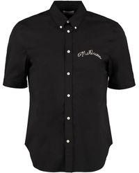 Alexander McQueen Short Sleeve Stretch Cotton Shirt - Black