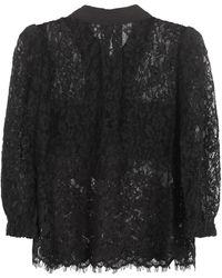 Self-Portrait Broderie-anglaise Shirt - Black