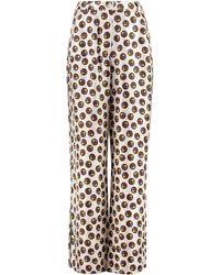 Tory Burch Reva Printed Silk Pyjama Trousers - White