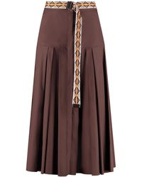 Max Mara Studio Erica Pleated Poplin Skirt - Brown
