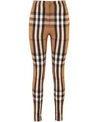 Burberry Pantaloni stretch motivo check - Neutro