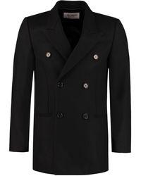 Saint Laurent Virgin Wool Double-breasted Coat - Black
