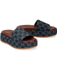 Gucci Leather And Fabric Slides - Blue