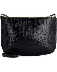 A.P.C. Sarah Leather Crossbody Bag - Black