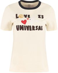 Tory Burch Embroidered Cotton T-shirt - Natural