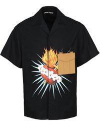Palm Angels Camicia in cotone con maniche corte - Nero