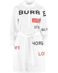 Burberry - Abito chemisier in cotone con cintura - Lyst