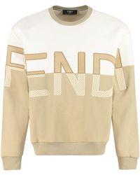 Fendi Two-tone Cotton Blend Sweatshirt - Natural