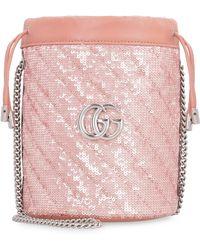 Gucci Mini borsa a secchiello GG Marmont - Rosa