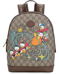 Gucci GG Supreme Fabric Backpack - Donald Duck Disney X - Natural
