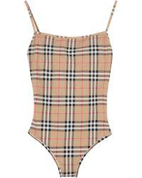 Burberry - Vintage Check Motif One-piece Swimsuit - Lyst