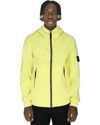 Stone Island Hooded Techno Fabric Raincoat - Yellow