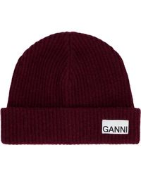 Ganni Ribbed Knit Beanie - Red