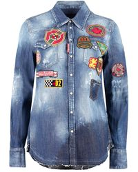 DSquared² Embroidered Denim Shirt - Blue