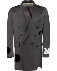 Off-White c/o Virgil Abloh Double-breasted Wool Coat - Gray