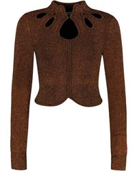 Self-Portrait Cut-out Details Ribbed Pullover - Brown