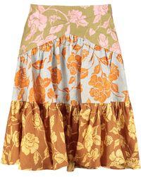 Zimmermann The Lovestruck Printed Linen Skirt - Orange
