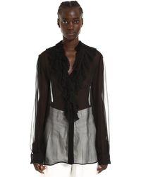 Alberta Ferretti Ruffled Silk Blouse - Black