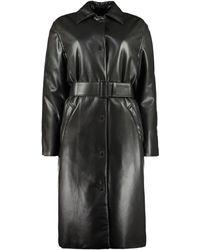 MSGM Faux Leather Fabric Coat - Black