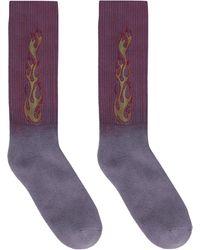 Palm Angels Flames Cotton Blend Socks - Purple
