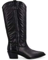 Ash Delirium Pointy-toe Cowboy Boots - Black