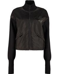 Prada Re-nylon And Knit Cardigan - Black