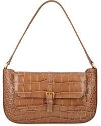 BY FAR Miranda Croco Print Leather Handbag - Brown