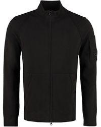 C.P. Company High Collar Zipped Cardigan - Black