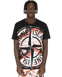 Stone Island Enlarged Logo Print T-shirt - Black