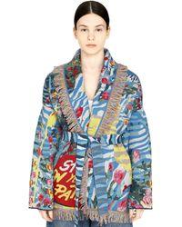 Alanui Cardigan in lana con frange - Blu