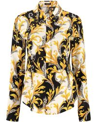 Versace Camicia in crêpe de chine stampata - Giallo