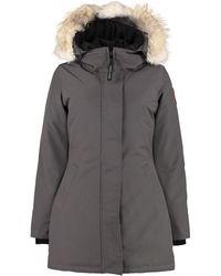 Canada Goose Parka Graphite con cappuccio bordato in pelliccia - Grigio
