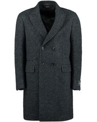 Z Zegna Wool Blend Double-breasted Coat - Green