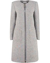 Moschino Boucle Knit Coat - Gray