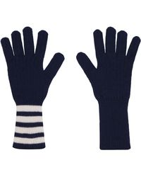 Thom Browne Cashmere Knitted Gloves - Blue