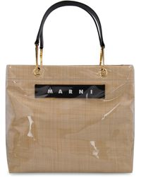 Marni Glossy Grip Tote Bag Raffia Os Leather - Natural