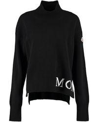 Moncler Pullover dolcevita in lana e cachemire - Nero