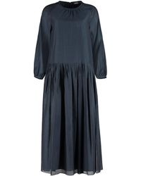 Max Mara Adatti Cotton-silk Blend Dress - Blue