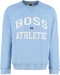 BOSS by HUGO BOSS Cotton Crew-neck Sweatshirt With Logo - X Russell Athletic - Blue