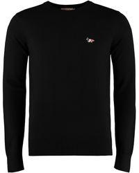 Maison Kitsuné Wool Crew-neck Pullover - Black