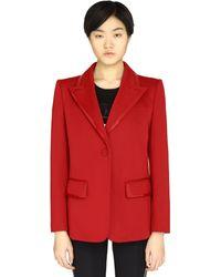 Fendi Leather-trimmed Jersey Blazer - Red