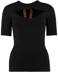 N°21 Cut-out Detail Ribbed Jumper - Black
