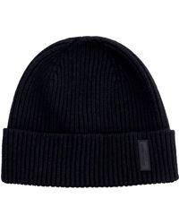 Giorgio Armani Ribbed Knit Beanie - Black