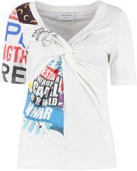 Marine Serre - T-shirt con scollo a V - Lyst