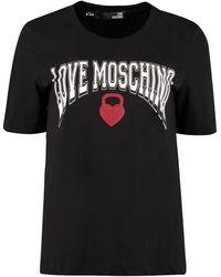 Love Moschino T-shirt in cotone con stampa - Nero