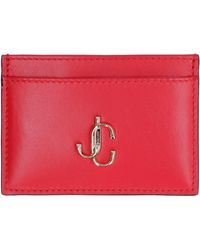 Jimmy Choo Umika Smooth Leather Card Holder - Red